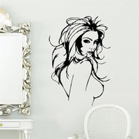 Cheap sexy long hair woman naked breast wall stickers room decoration zooyoo8466 vinyl adesivo de paredes home decals mual art poster