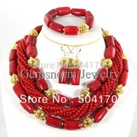 coral coral necklace - Fashion Red Coral Beads Jewelry Set Charms Red Twisted Strands African Jewelry Set High Quality CNR132