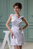art time classics - Price Art Deco inspired V Neck Ruched Taffeta Sheath Short Flattering Evening Dresses In Time For Xmas High Quality Customization