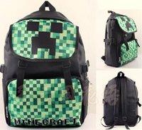 20pcs 2015 Minecraft chaude Sac à dos Jeu Cartoon Kids School sac étanche en PVC Enfants Garçons Double sac d'épaule Couleurs mélangées Envoyer