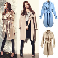 Wholesale New Arrival Fashion Women Plus Size Autumn Khaki Long Belt Trench Coat Turn Collar Overcoat Pocket Outerwear XXXL Casacos Femininos SV006675