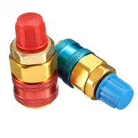 Wholesale High quality pair A C R134a QC12LH High Low Quick Connector Adapter Coupler Car Automotive Refrigerant blue and red