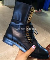 ankle pics - Real Pics Autumn Boots New Fashion Brand Genuine Leather Boots Chain Ankle Boots Heels Lace Up Women Motorcycle Boots