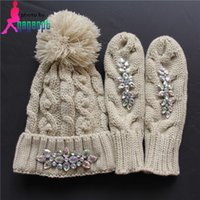 Wholesale European and American fashion diamond female knit hat set hat gloves