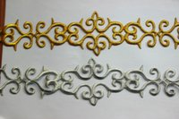 Wholesale Gold embroidered applique lace iron on golden metallic braid Yard Piece cm