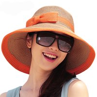 Wholesale 2016 New Hot Sun Hat Women Ladies Wide Brim Hat Floppy Summer UV Protection Beach Hat Straw Hat Dome Cap Outdoor Casual Foldable Headwear