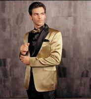 black pants - One Button Gold Jacket Black Pants Groom Tuxedos Peak Lapel Groomsman Men Wedding Tuxedos Bridegroom Suits Jacket Pants Girdle Tie G1211