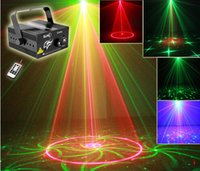 Wholesale RG Mini Lens Patterns LED Laser Projector Stage Lighting Effect Remote W Blue For DJ Disco Party Club Laser Light