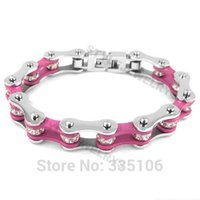 american bicycle - Bling Pink Silver Bicycle Chain Motor Biker Bracelet Stainless Steel Jewelry Rhinestone Motorcycle Women Bracelet SJB0148