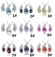 Earrings & Necklace Crystal Alloy Hot Austrian crystal jewelry 925 sterling silver jewelry set with diamond necklace and earrings Swarovski Crystal 2sets lot free ship