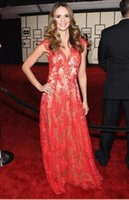 Wholesale Zuhair Murad Sexy Red Lace Prom Dresses With V Neck Floor Length Formal Evening Gowns Cara Quici th Grammy Awards Celebrity Dress