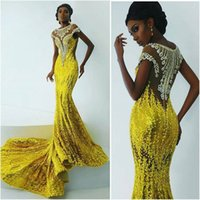 african fashion wear - 2016 Shinning Yellow Mermaid African Dresses Evening Wear Sheer Neck Sexy Back Luxury Beaded Lace Applique Sequins Formal Prom Party Gowns