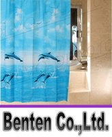 Wholesale llfa1367 Three dolphins and blue sea Opaque waterproof mouldproof the bathroom shower curtain