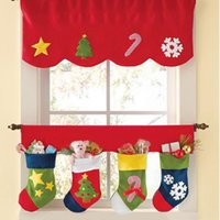 beige curtain valance - 2pcs set Christmas Stockings Decoration Door Window Curtain Decor Pennant Bunting Valance