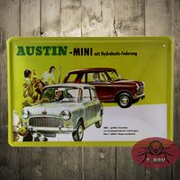 austin mini - Austin Mini Large metal Aluminium Sign vintage shabby chic tin sign