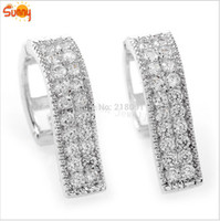 Wholesale New Arrival Jewellery famale Cubic zircon K White gold filled hoop earrings for women