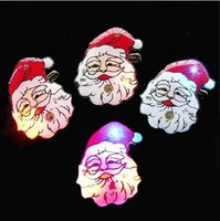 Wholesale Christmas Flash Brooch Christmas Snowman Santa Claus Christmas LED Badge M1803