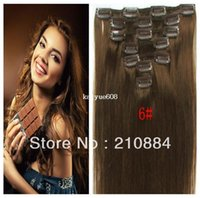 Wholesale new quot quot quot quot Full Head Remy Clip in Human Hair Extensions Brazilian Virgin Hair Color brown set