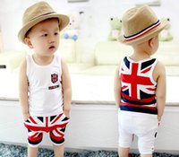 uk flag - Baby Boys Girls Leisure Printed Vest Sets Children UK Flag Printing Sleeveless Casual Outfits Summer Little Kids Tracksuit I2177