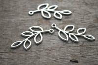 beautiful tone - 20pcs Branch Charm Connectors Antique Tibetan silver Tone with Beautiful Leave pendants x19mm