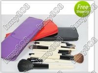 bb leather - HOT NEW Makeup Brushes BB piece Professional Brush sets black Purple red brush Leather cosmetic bag set