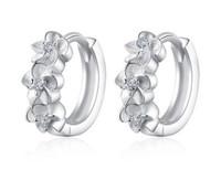 Wholesale 925 Sterling Silver Round Circle Hoop Earrings Fashion Jewelry Retro Single Row Flower Zircon Diamond Crystal Earring for Women Girls