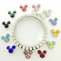 Charms charms Other 120pcs lot floating charms birthstone birthday stones MJ1130129 8*6mm mickey head 12 colors each 10pcs for glass living memory lockets