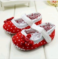 baby flats - Baby Girls First Walker Shoes Newborn Princess Polka Dot Flat shoes Soft Bottom Buckle Shoes DH04