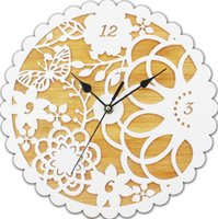 Cheap Free shipping elegant wall clocks bamboo board and acrylic layers clocks floral pattern fretwork white clock pastoral style