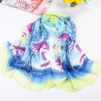 best christmas scenes - Christmas Gift Best Chiffon Scarves For Women Girl Sweet Scene Landscape Tree Scarf Mix Color C