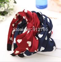 navy red fabric korea - MisS Linda Korean Korea velvet print double bow headband heart shape hair bands hair for women hair accessories
