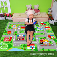 american car games - Baby Boy House community lane game carpet Nylon Green comfortable child Toy car track carpet size X150cm