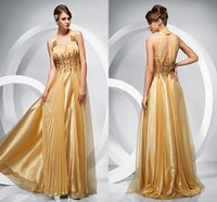 beaded organza trim - 2015 Sexy V Neck Sequins Trimmed Golden Evening Dresses Crystal Exquisite Zipper Chiffon high quality Sleeveless Floor length Prom Gowns