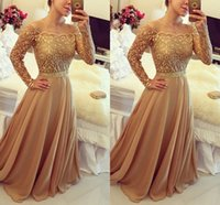 Wholesale 2016 New Design Evening Gowns Golden Off Shoulder Long Sleeve Chiffon A Line PArty Prom Dresses Custom Made BO7984