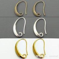 achat en gros de fil de bronze gros-Grossiste-100pcs / lot Antique Bronze / Argent / or plaqué oreille Hook Boucle d'oreille pour Bijoux DIY 13 * 19mm