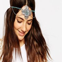 antique beaded flowers - Women Girls Four Leaf Flower Headband Europe And America Turquoise Double Layer Bride Hair Accessories Intage Beaded Elastic Headdress