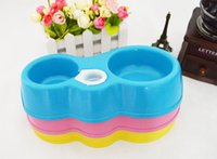 Wholesale Plastic Pet Double Food Bowl Cats Drinking Fountain Double Bowl Pet Bow Watering Supplies Dog Bowl Cat Bowl