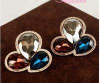 Wholesale colorful crystal waterdrop clover lady s earings mm nnsssp