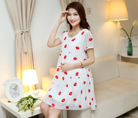 Wholesale 2015 Women Maternity Dresses Casual Pregnant Clothing summer chiffon Red lip maternity clothes Outwear Dress women dress for pregnant