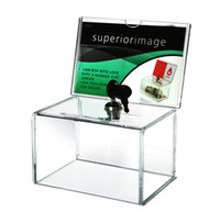 W155xD110xH210mm acrylic sign holders wholesale - Pack units Locked Clear Acrylic Charity Donation Boxes With Removable Sign holder For Church Non profitable Charity Groups YDB006