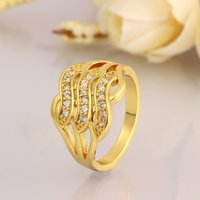 Wholesale Mix Order R070 Fashion Trendy Jewelry Women s Yelllow gold Rose gold White Gold Fill Plated Gemstone Zricon Lover Wedding Rings