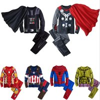 Wholesale children Cartoon iron Man Hulk Spider Man Captain America thor boy cosplay pajamas sets spring kids baby T shirt pants Long Johns two suit