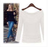 Ebay antes y después de los modelos de explosión de AliExpress desgaste dos blusa de la manera cuello barco cuello de la camiseta