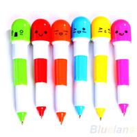 Wholesale 6PCS Cute Smiling Face Pill Ball Point Pen Pencils Telescopic Vitamin Capsule Ballpen for School Use L