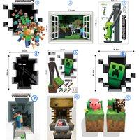 Wholesale 3D Minecraft through Wall Stickers Creeper Decorative Steve Dig Wall Decal Cartoon Wallpaper Kids Party Decoration Wall Art Poster