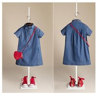 short dress with jeans - 2015 baby girl Summer bull puncher dress with short sleeves Leisure pure color dress jeans straight dress
