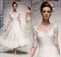 goods in china - 2015 Sexy V Neckline Half Sleeve A Line Wedding Dresses With Applique Lace Ankle Length Garden Bridal Gowns Made IN China Good Quality ZQ