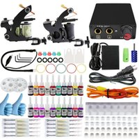 Cheap Professional 1 Set 90-264v Complete Equipment Tattoo Machine Gun 20 Color Inks Power Supply Cord Kit Body Beauty Diy Tools