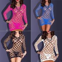 Wholesale 2015 Womens Fishnet Baby dolls Mini Dress Set Lingerie Thongs Underwear Sexy Sleepwear Nightwear