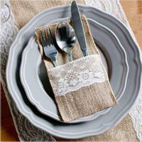 Wholesale 100Pieces Vintage quot x8 quot Hessian Burlap Lace Wedding Tableware Pouch Cutlery Holder Decorations Favor MCD